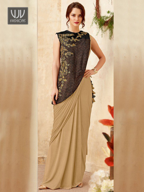 Fashionable Beige Color Fancy Fabric Designer Saree