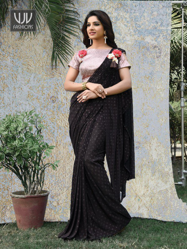 Fabulous Black Color Fancy Fabric Saree