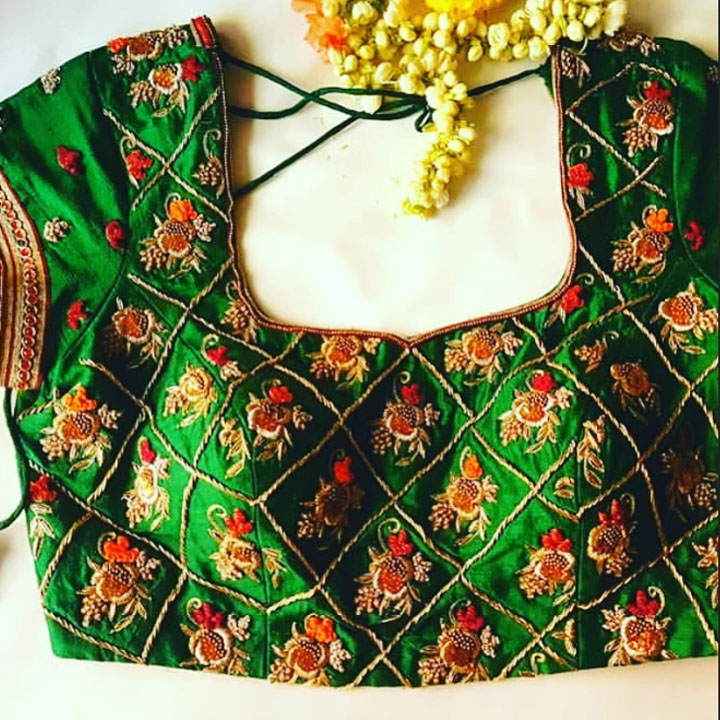 Green Hand embroidered Work Designer Wedding Occasional Blouse